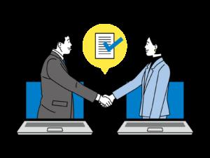 生徒と講師の握手