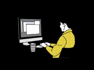 オンラインで勉強する男性