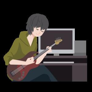 パソコンで音楽制作する人のイラスト
