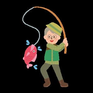 釣りをする高齢者の男性