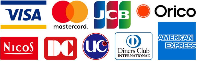 有名なクレジットカード会社のロゴ群