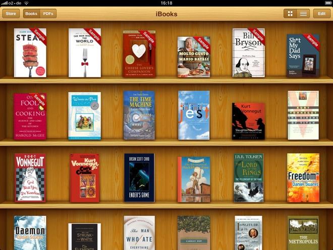 スキューモーフィズムのデザイン「iBooks」のサンプル